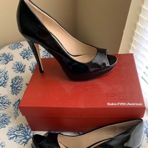 Saks Fifth Avenue Black Patent Peep-toe Heels